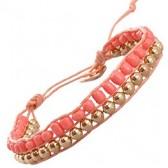 Armband met roze kralen en goud accenten