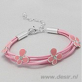 Girls bracelet with pink silver flowers