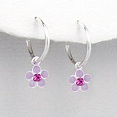Girls ear stud earrings 925 silver flower