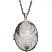 Photo locket oval pendant stainless steel