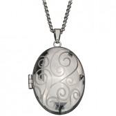 Photo locket oval pendant stainless steel
