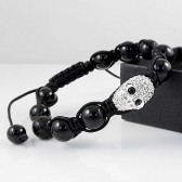 Shamballa bracelet black with skull
