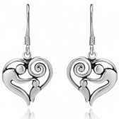 Mother and child earrings silver
