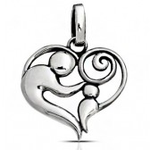 Mother and child pendant silver