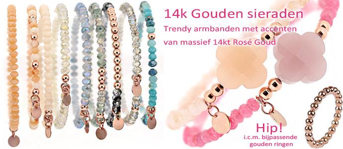 rosegoud sieraden, rose goud armband 14k